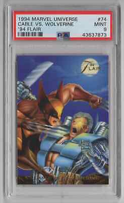 1994 Flair Marvel Universe  #74 Cable vs Wolverine - PSA 9 MINT - NEWLY GRADED