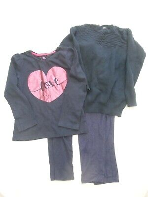 girls navy tops and leggins sets, 5-6yrs, used