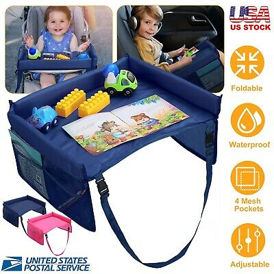Kids Baby Safety Waterproof Travel Tray Drawing Board Car Seat Snack Toy Tray