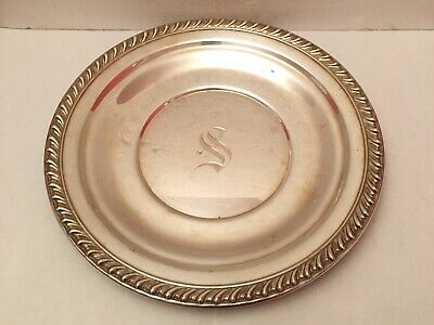 Wallace Sterling Silver H103 Plate Monogrammed 262 Grams For Use Or Scrap