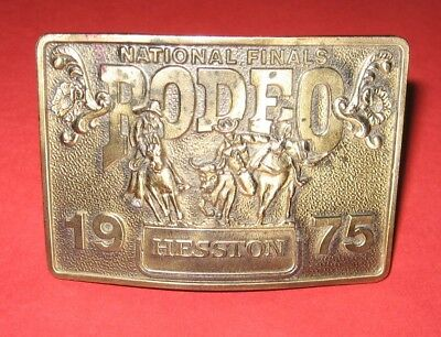 1975 Hesston Rodeo National Finals Solid Brass Belt Buckle /New