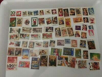 Christmas Postage Stamps Used 75 different Similar to photos Packs all the same!