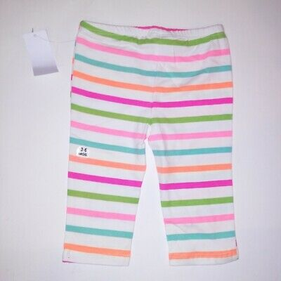 Small Wonders Pants Girls Infant Baby White Multi Colorful Stripe