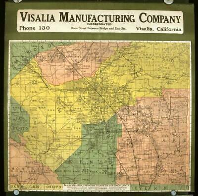 CALIFORNIA FRESNO COUNTY / Visalia Manufacturing Company Map of Part of Madera