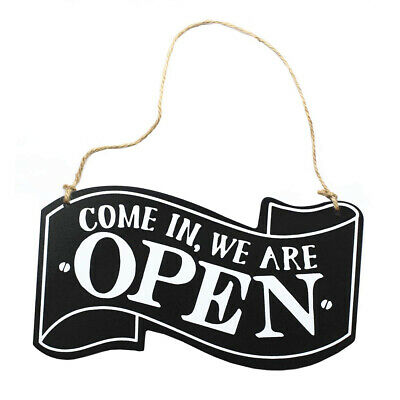 Double-Sided Open/Closed Sign Hanging Board Open Wooden Close Sign with Rope