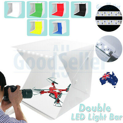 Portable Double LED Light Tent Photo Studio Photography Backdrop Mini Cube Box