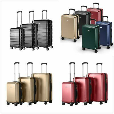 Hard Shell Suitcases 4 Wheels Trolley Set of 3 Lightweight Luggages Travel Cases