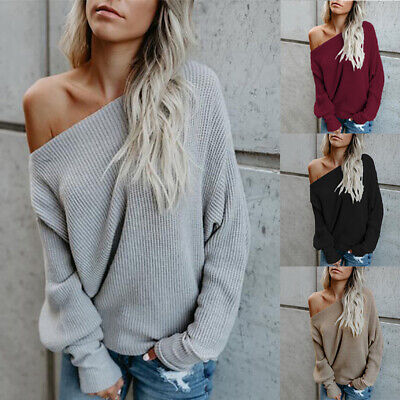 Womens Off Shoulder Sweater Ladies Long Sleeve Baggy Jumper Pullover Tops SizeZY
