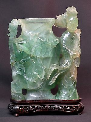 C6 art chine grand vase pot ancien Fluorine sculpté 4.2Kg 25c geisha jade socle