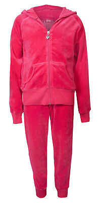 Love Lola Childrens Girls Velour Cuff Tracksuit Raspberry Age 11/12 Brand New