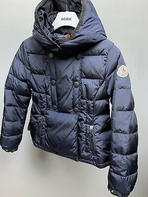 Kids Girls MONCLER Blue Down Jacket Hooded Puffer Double breasted Sz Age 8 years