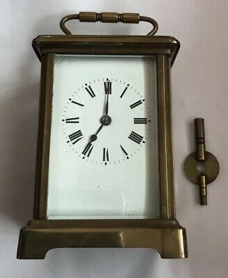 Vintage French Brass Carriage Clock In Case With Key
