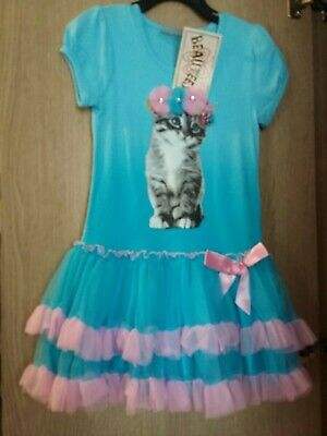 BEAUTEES Girl/'s TUTU DRESS Embellished Cat KITTEN Design BLUE Princess Party
