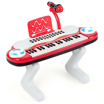 Z-Shaped Kids Toy Keyboard Piano 37-Key Electronic Organ Light w/Microphone Red