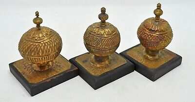 Antique Lot of 3 Brass Decorative Piece Original Old Hand Crafted Engraved
