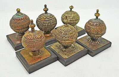 Antique Lot of 6 Brass Decorative Piece Original Old Hand Crafted Engraved