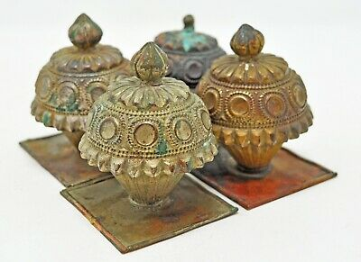 Antique Lot of 4 Brass Decorative Piece Original Old Hand Crafted Engraved