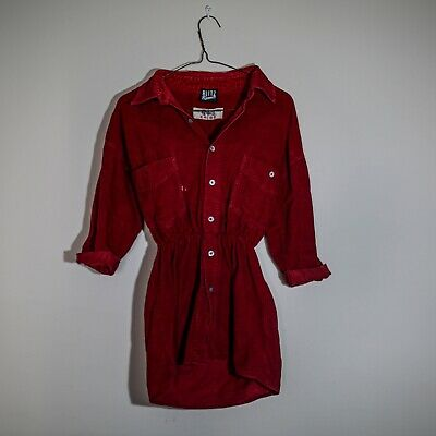 Rokit Vintage Clothing Red Chord fitted Shirt top / dress size S (6-10)