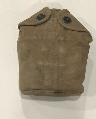 Early WW2 US Army Military M1910 M-1910 Canteen Cover Khaki Canvas Dated 1943