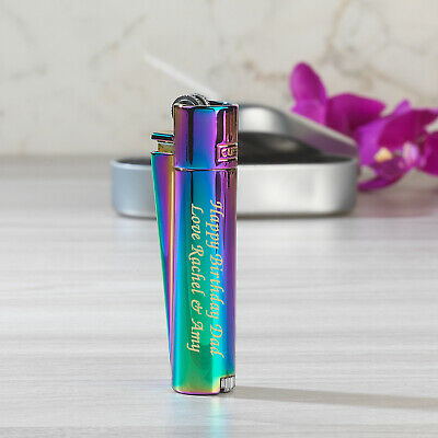 Personalised Engraved Clipper Rainbow Steel Lighter For Birthday Gift Christmas