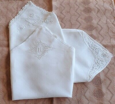 3 Beautiful Vintage/Antique Hand  made Embroidered White Cotton  Handkerchiefs