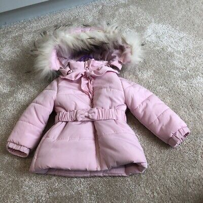 Baby Girls Coat With Detachable Fur Hood Age 9-12 Months