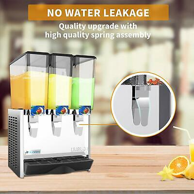 Commercial Cold Drink Dispenser Juice Beverage Maker 3 Tank Thermostat Control