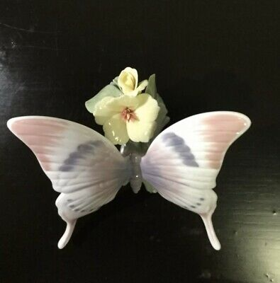 LLADRO #6173 A MOMENTS REST BRAND NIB BUTTERFLY FLOWER NATURE COLORFUL SAVE$ F//S