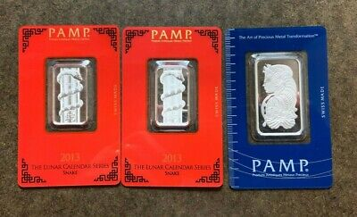 Three 999 Fine Silver PAMP Bars, 40 Grams Total = 1.28 Troy Oz - No Reserve