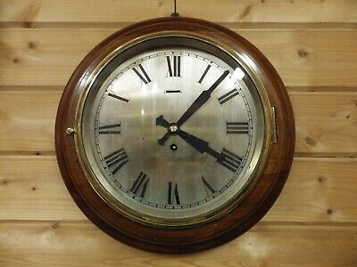 Ships Clock Movement fully Restored In A Mega Heavy Mahogany Case cast Bezel