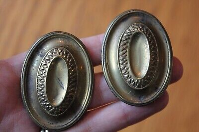 2 Metal Cabinet Knobs Oval Brass Over Cast Iron Vintage Pulls Antique handles