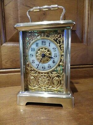 French Carriage clock Art Deco Front Chase Work Dial mask 1890s