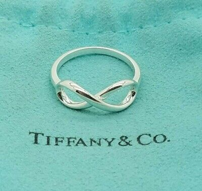 Tiffany & Co. Sterling Silver 925 Infinity Band Ring Size 7 With Pouch