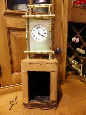 French Repeating Carriage Clock In A Rare Bamboo Case With The Key & Box 1870-80