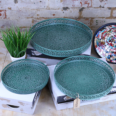 Lalas Set of 3 Green Eastern Vintage Round Trays