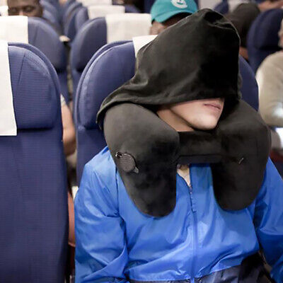 Inflatable Travel Neck Pillow H-Shaped Hooded Rest Sleep Pillows Support Pillows