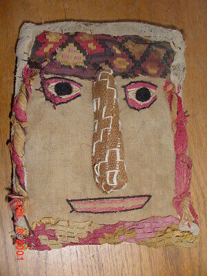 Wonderful Ancient Peruvian Precolumbian Cloth Face