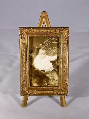 Victorian Easel Style Miniature Picture Frame,Vintage Photo of Child, Gift Idea