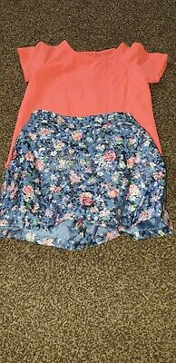 "Girls ""Nutmeg"" Skirt & Top Outfit (Coral) Silk Feel Size 5-6 years"
