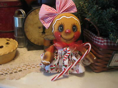 Primitive  Gingerbread doll with candy #1 tea cup doll shelf sitter bowl filler