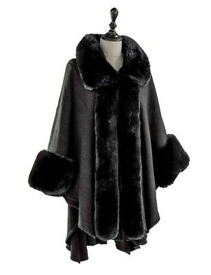 Victorian Trading Co Faux Fur Trimmed Black A Winter's Stroll Cape