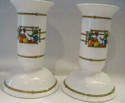 Villeroy & Boch Mon Jardin Candlesticks Candle Holders Pair Set 2 Fruit Bamboo