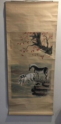 Chinese Asian Scroll - Two Horses Near Water Under Tree