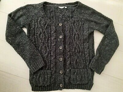 Fat Face Dark Grey Alpaca Mix Chunky Cable Knitted Cardigan Size 10 Winter