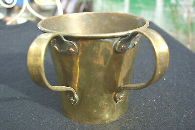 Antique Brass Russian Loving Cup Two Handled Hand Hammered Dovetails Early 19th