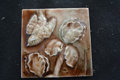 """Antique Figural Majolica Fireplace Tile 19th c. Bird Branches Leaf 6"""" X 6"""" Trent"""