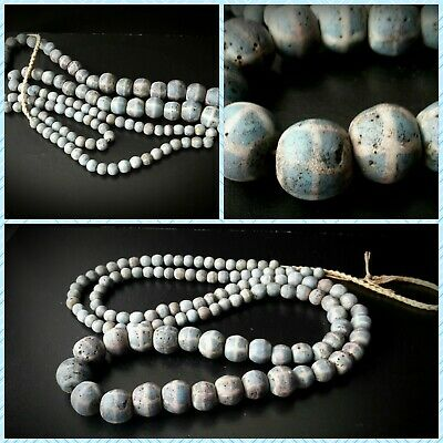 Antique Long Near Eastern Mosaic Blue & White Glass Bead Necklace