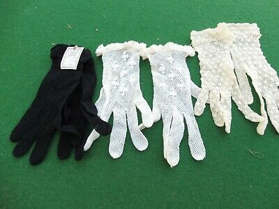 Vintage childrens original crochet gloves 1930's era 3 pairs