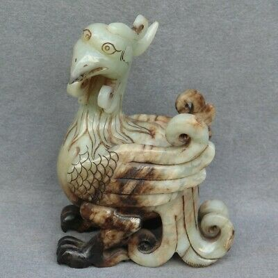 Chinese Exquisite Hand carved bird Carving Hetian jade statue