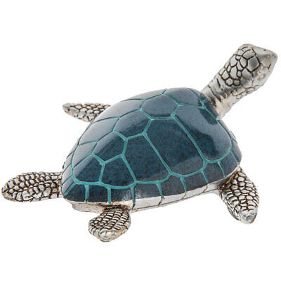 Blue & Silver Sea Turtle Figurine. Cute Animal. Nautical Home Accent